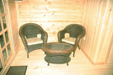 Seating area to enjoy a peaceful morning coffee in the chalet