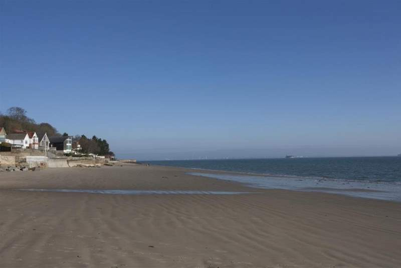 The tide is out on this popular beach