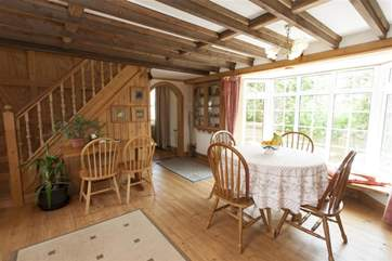 Lovely cottage open plan living room and stairs to first floor