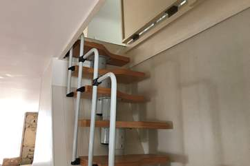 These stairs lead to the the twin bedroom situated in the eves