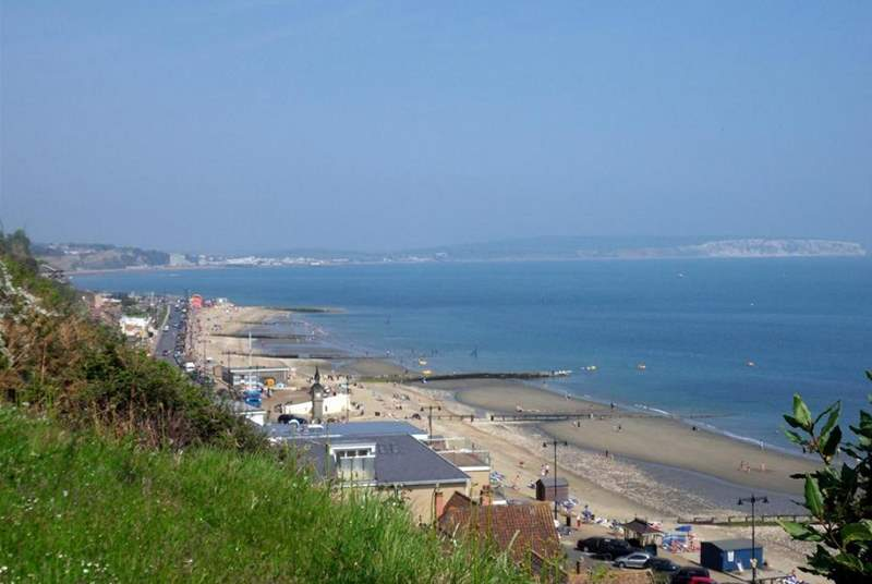 Shanklin beach with views across to Culver Cliff