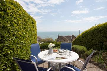 With stunning views out to sea, this is a perfect spot for afternoon tea.