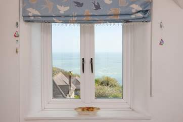 Both bedrooms have lovely views out to sea.