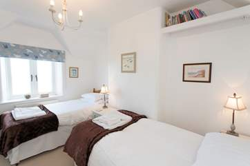 Trevessa has a lovely twin bedroom with sea views.