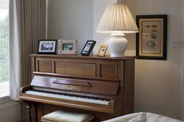 The living room has a piano with a view.