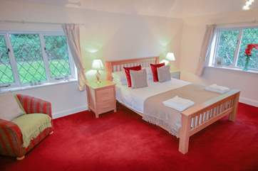 Double bedroom with King size bed and sea views