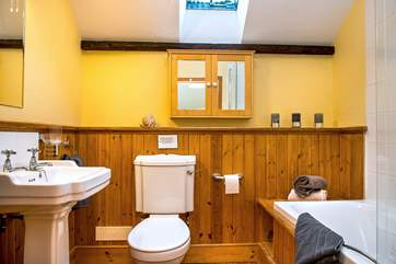 Bathroom, fully equipped with bath and shower over.