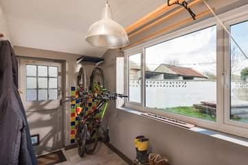 Storage for your bikes in the utility-room, there is also a side entrance to the rear of the property so you can come in with muddy boots, wet suits etc.