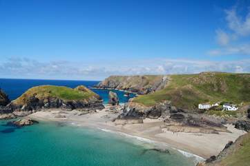 Beautiful Kynance Cove is a five minute drive away.