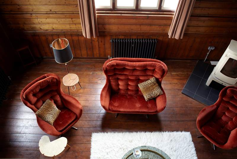 The furniture is a mix of retro classic and modern