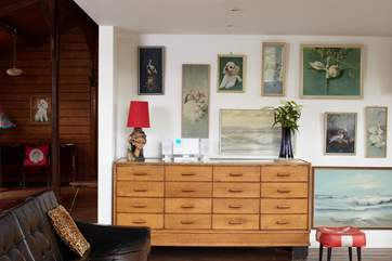 Living area with an eclectic range of retro furniture