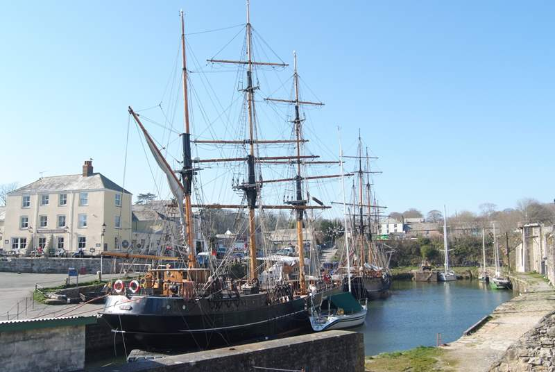 Tall ships in the harbour.