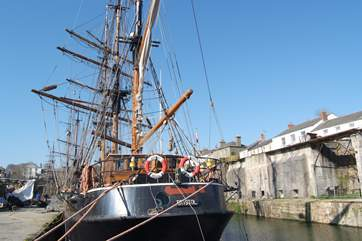 One of the tall ships often moored in Charlestown harbour.