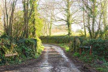 When you see these signs you are nearly there, follow this lane up to the barn.
