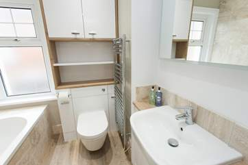 Brand new clean and modern bathroom with under-floor heating.