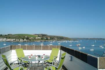 Fabulous views from the rooftop terrace to the Roseland peninsula beyond.