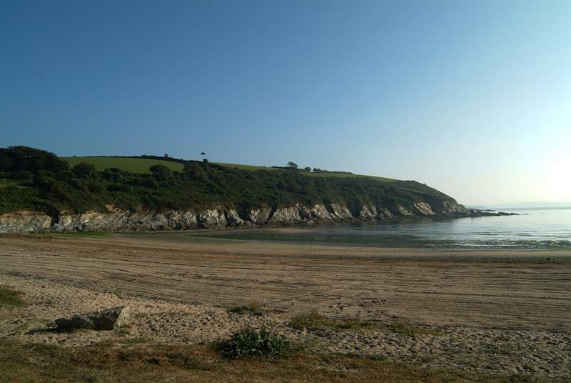 Maenporth Cove is just outside Falmouth, a popular beach with families.