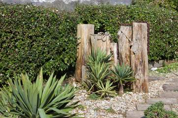 The garden is full with interesting and exotic plants and features