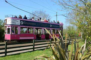 From the cabin, you can walk along the river to nearby Colyton from where you can take this gorgeous little tram to the Jurassic coast at Seaton.