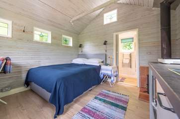 The en suite shower-room is at the back of the cabin.