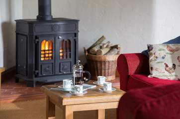 The wood-burning stove keeps you snug for out-of-season breaks here.
