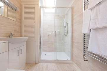 A large walk-in shower cubicle.