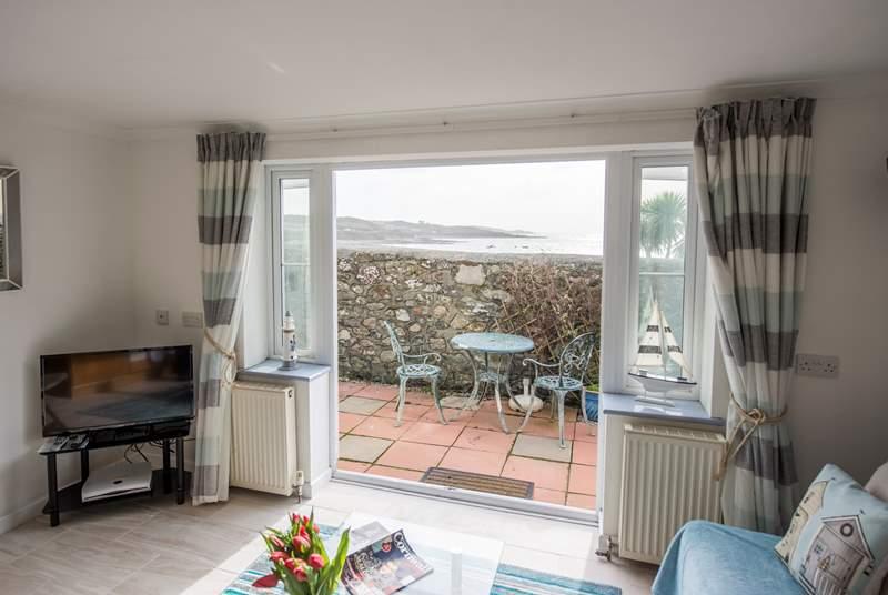 Sea views over the garden wall.