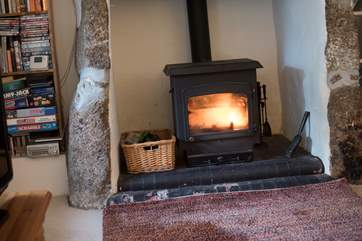 A roaring wood-burner in the sitting-room.