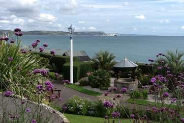 The Juassic Coast as viewed from Greenhill Gardens at Weymouth.