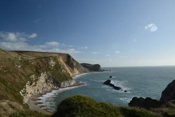 The magnificent Jurassic Coast, looking east from Durdle Door.