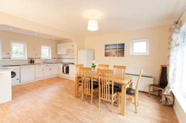 There is plenty of space in the open plan kitchen/dining-room