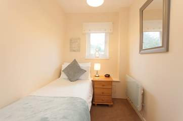 There is a cosy single bedroom on the ground floor, just off the sitting-room