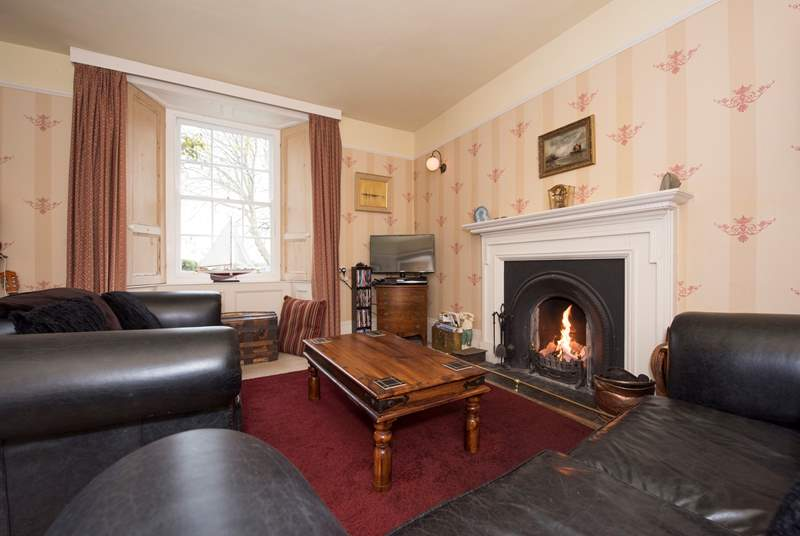 There's a roaring open fire in the sitting/dining-room.