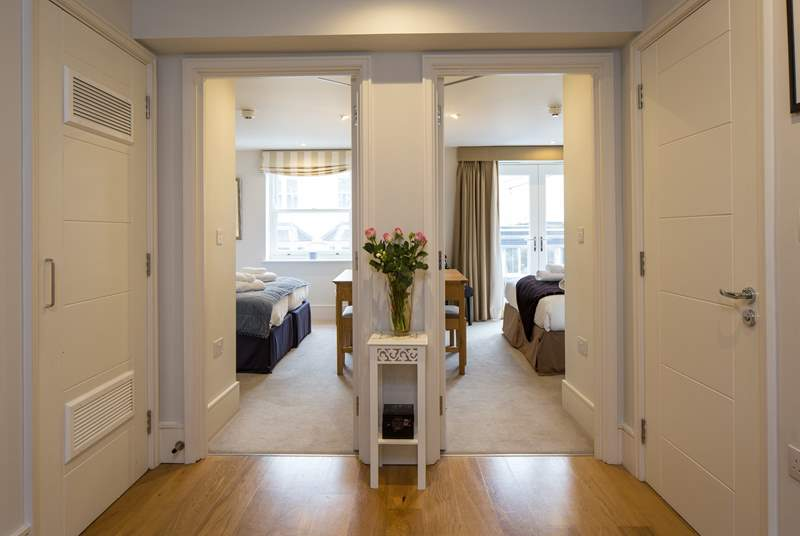 Step into the spacious entrance hall and be prepared to be wowed. Both bedrooms and family bathroom lead off from this area.