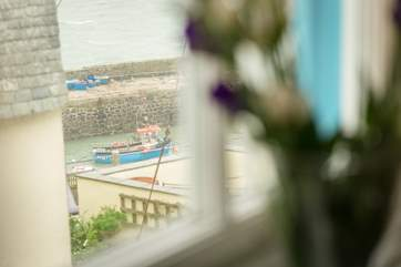 The view from the double bedroom down to the harbour.