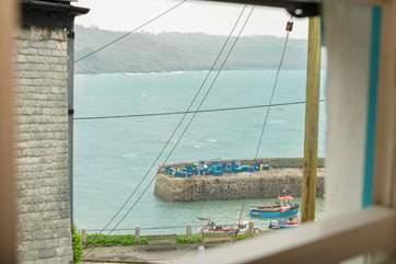 The view from the twin bedroom out over the harbour.
