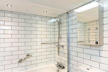 The sparkling new bathroom.