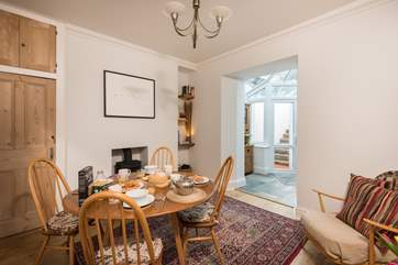 The dining-room also has a wood-burner, lovely for cosy meals on winter days.