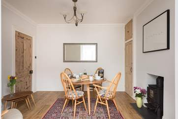 Original Ercol furniture is a lovely feature in the dining-room.