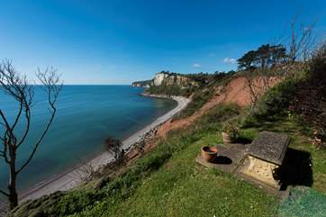 A view from the Owners' garden looking along the Jurassic Coast, Beer is just around the headland.