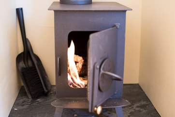 There is a cosy wood-burner in case the evening turns chilly, there is also an electric heater to keep you toasty warm.