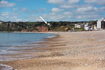 Seacliffe sits high on the cliffs (see arrow) but is just a short walk into the delightful town of Seaton.