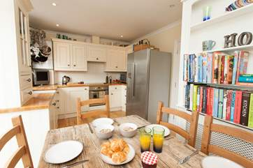The kitchen is a lovely size to cook everyones favourite treats or to prep your pimms for a day by the pool!