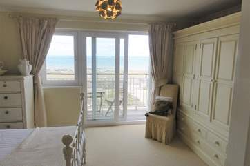 Views of the Solent from the bedroom, leading out to the Balcony