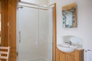 The shower cubicle and wash-basin in the master bedroom.