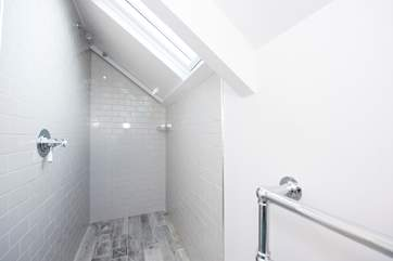 The walk-in shower in the first floor en suite shower-room.