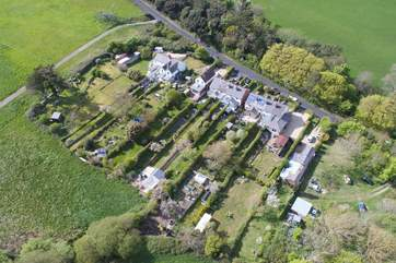 An aerial shot of the beautiful rural location of Butterfly Cottage