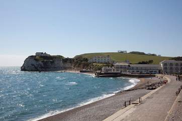 The lovely Freshwater Bay is just a five minute drive away