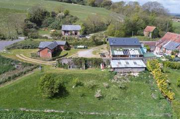 An aerial shot of the location of The Piglet, a lovely rural retreat