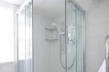 The shower cubicle in the shower-room.